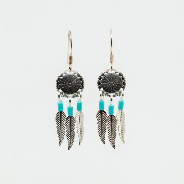 Boucles d'oreilles pendantes en argent et billes turquoise