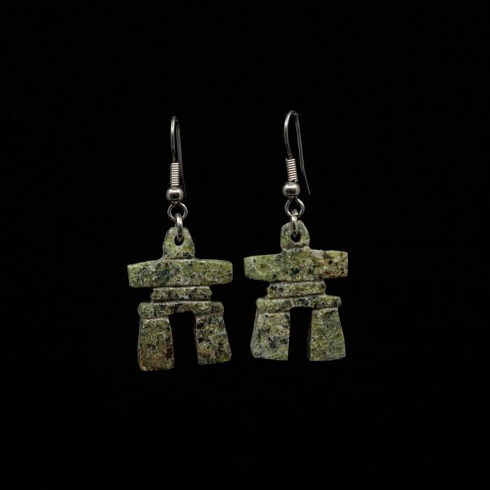 Boucles d'oreilles Inukshuk en pierre