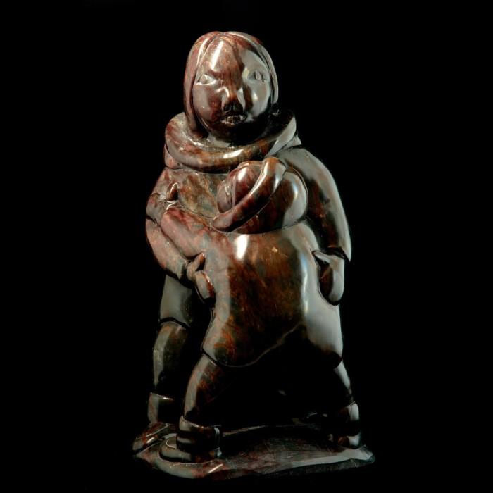 Sculpture Figurine de pierre Les retrouvailles père fils