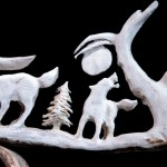 sculpture bois orignal loups