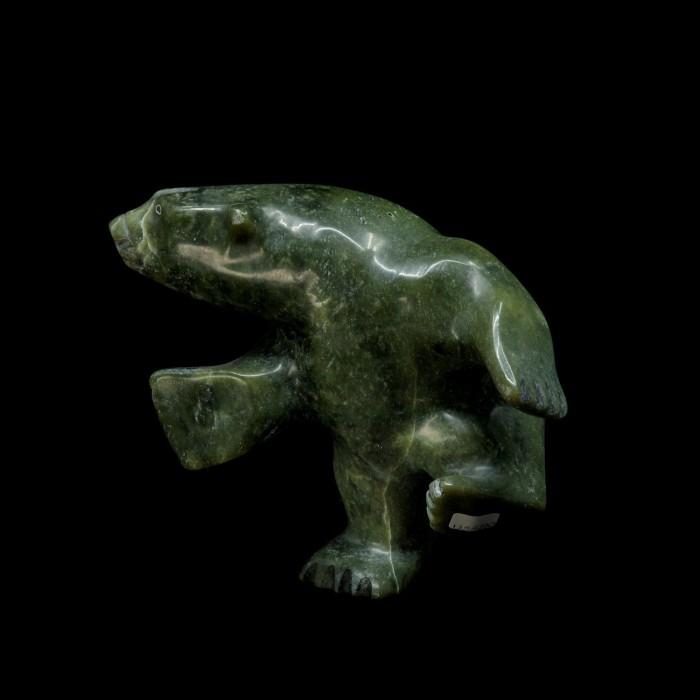 sculpture ours dansant vert (serpentine)